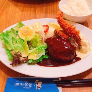 ハンバーグ&海老フライ(河村食堂 )