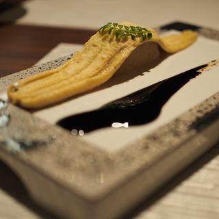 蒸し穴子 バルサミコの煮詰めソース(穴子家NORESORE 難波店)