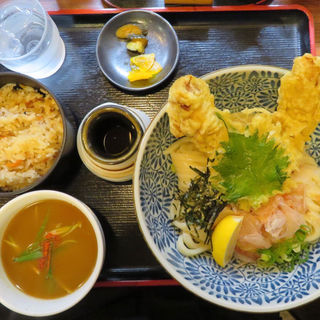 鶏天ぶっかけ定食+ちょいカレー(うどん 蔵十 (くらじゅう))