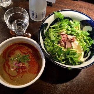 辣濃辛煮干パクチーつけ麺(九十九里煮干つけ麺 志奈田)