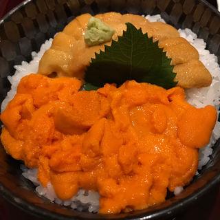 塩水バフンうにムラサキうに 食べ比べ丼(函館うに むらかみ 日本生命札幌ビル店)