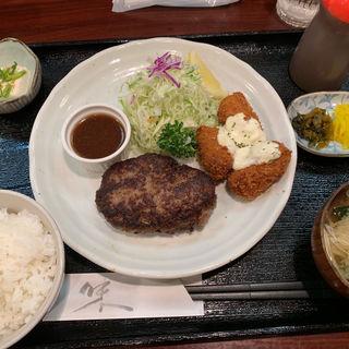 ハンバーグ&カキフライ定食(キッチン夢や)