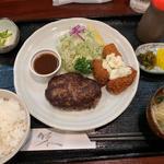 ハンバーグ&カキフライ定食