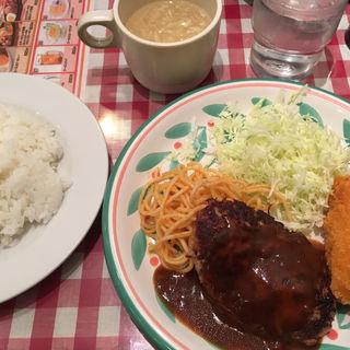 ハンバーグ&カニコロ定食(キッチンセブン 街のハンバーグ屋さん 浅草橋店 )