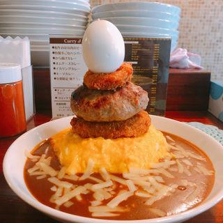 オムチーズ&ハンバーグ&コロッケ&ゆで卵