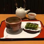 抹茶「紅葉」とフォンデュだんご
