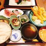 お刺身と上天ぷら定食