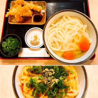 玉子醤油うどん(大盛・玉子2個・ねぎ増量)+かしわ天(美の庵 )