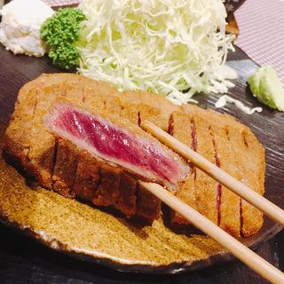 牛かつ麦飯セット ダブル(牛かつもと村 六本木店)