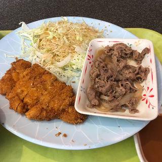 とんかつ+焼肉定食(とんかつ大将 筑紫通り店)