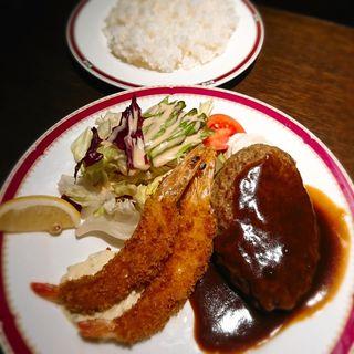 海老フライとハンバーグ(ライス付き)(レストラン アサヒ パノラマドーム )