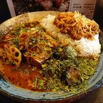 あいがけカレー  鯖味噌+野菜
