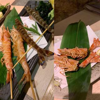 海老の踊り食い(大盛鮮魚カツオ )