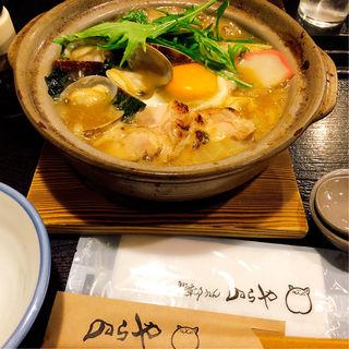 あさりと鶏肉の白湯鍋焼きうどん(のらや 三軒茶屋店 )