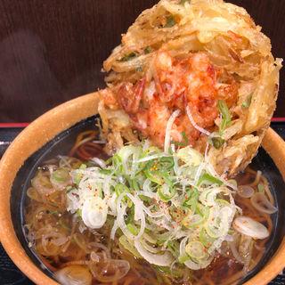 桜海老と帆立のかき揚げ蕎麦