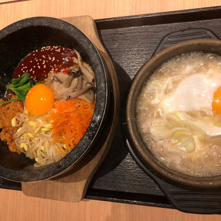 ビピンパ、スンドゥブセット(東京純豆腐 くずはモール店 (トウキョウスンドゥブ))