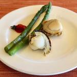 帆立貝とグリーンアスパラ チェリートマト