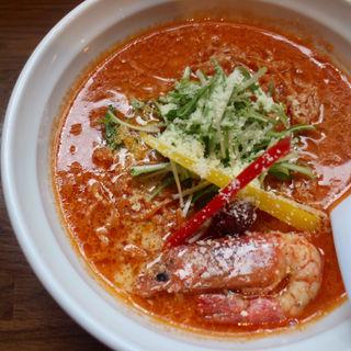 海老じゃらし+唐辛子麺(濃厚な味わいヌードル 福の樹)