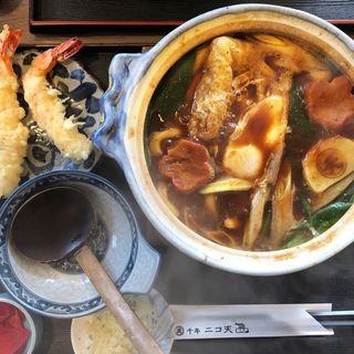 海老天味噌煮込みうどん(千年ニコ天 )