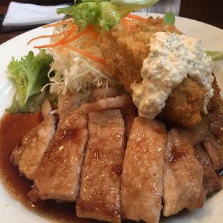 ポークジンジャー カキフライ付き(洋食 Kogame)