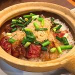 腸詰め干し肉貝柱釜飯