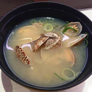 あさりの味噌汁(元気寿司 川崎駅前大通店)