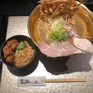 鶏soba + 鶏込み飯(小) 唐揚げ付き(鶏Soba 座銀 にぼし店 (トリソバ ザギン))