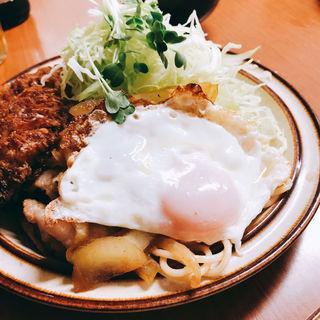 ひらめフライ、生姜焼きライス(馬場南海 )