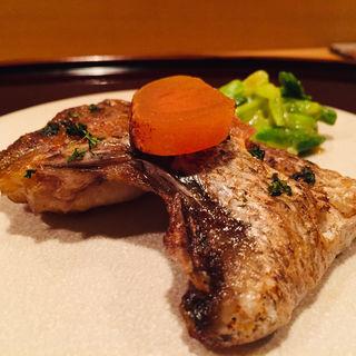 ノドグロと江戸前唐墨の炭火焼きw/庄内あさつきの酢味噌和え(料理 澤)