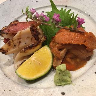 炙りホッキ貝とウニのつまみ(銀座しまだ )
