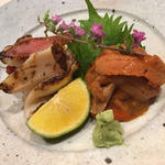 炙りホッキ貝とウニのつまみ