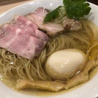 イリコそば+極み味玉(麦と麺助 新梅田中津店)