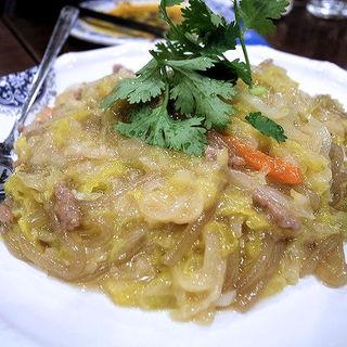 酸菜粉(酢漬け白菜と春雨炒め)(アリヤ 清真美食 池袋店)