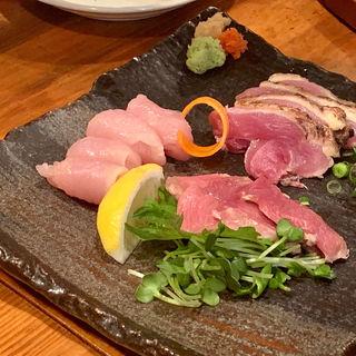 おすすめ刺身三種盛り(ソリリス・胸・ももタタキ)(闘鶏 本店 (しゃも))