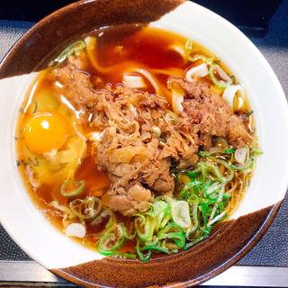 肉玉子きしめん(名代きしめん 住よし JR名古屋駅3・4番ホーム店)