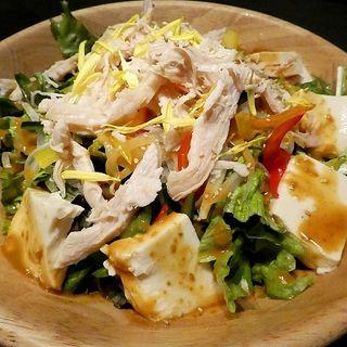 蒸し鶏と豆腐の棒々鶏サラダ(夜景個室ダイニング 星の奏 天王寺アポロビル店)