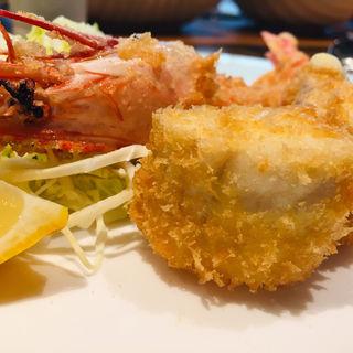 赤足海老と鰆のフライ(イワナガ食堂)