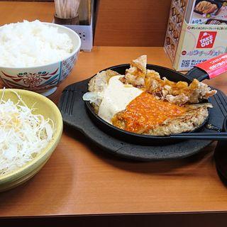 大ハンバーグ定食&若鶏竜田(ご飯特盛り)