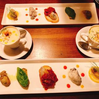 牡蠣の前菜5種食べ比べ(スパイラル (Spiral))