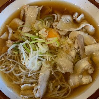 肉そばダブル、生卵(そばの神田 東一屋 名掛丁店 (そばのかんだ とういちや))