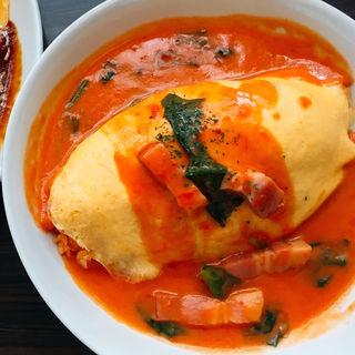 ベーコンとほうれん草のチーズイントマトクリームオムライス(ベビーフェイスプラネッツ 宇都宮店 )