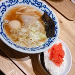 煮卵入り醤油ラーメン&明太子ご飯