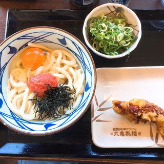 明太釜玉(並)+かしわ天(丸亀製麺 飯田橋サクラテラス店 )