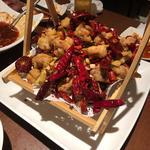 鶏肉の唐辛子、山椒炒め