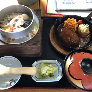 釜飯とハンバーグ(イエロー・パンプキン )