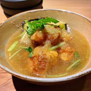 若鶏と茄子の煮おろし(伊勢海老蕎麦 清正)