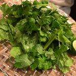 パクチーとゴマの葉のチョレギサラダ