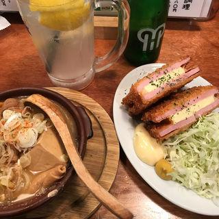ハムカツ&もつ煮(やきとん ひなた 池袋東口店)