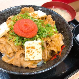 福岡明太バターすた丼(生卵、みそ汁付き)(伝説のすた丼屋 福岡天神店)