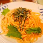 明太子とキノコのスパゲッティ